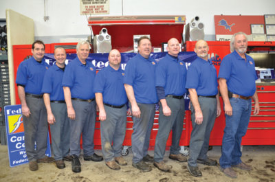 brighton auto team (l to r): technician tom summers; porter les jankowski; technician chris donovan; technician mark boon; technician alan abdella; technician/owner eric muir; owner bill wasylyk; owner bobby lee keeney jr.
