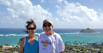terry and jenny flaherty happily in retirement on a recent trip to hawaii, hiking the